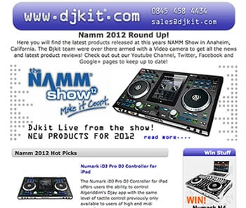 DJ Kit newsletter screenshot