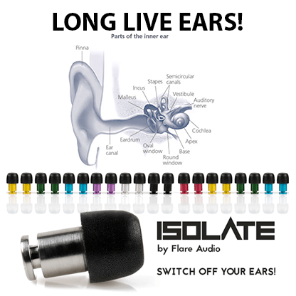 Flare Audio ISOLATE Ear Plugs, Switch off your ears!