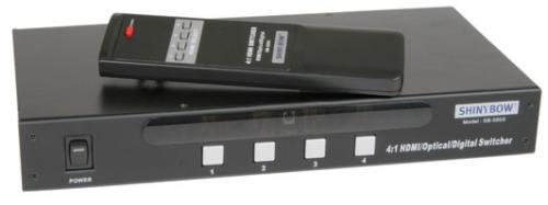 4:1 HDMI Optical Digital Switcher with RS232 Control & IR Remote