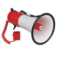 Heavy duty megaphone with siren and hand-held microphone, 20W max.