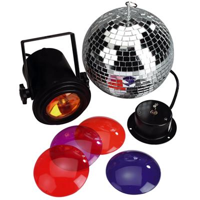 Mirror Ball Kit With 204mm Mirror Ball, Rotator, Pin Spot. Par36 Lamp And Filters