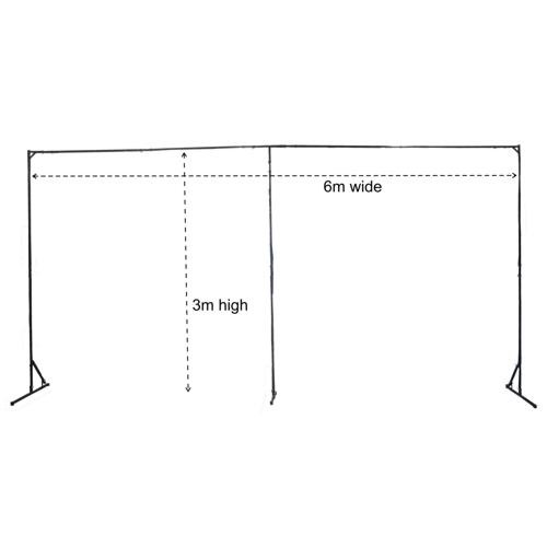 Ultimax Ecomax Starcloth Frame 3 x 6m Backdrop Stand (with middle support)