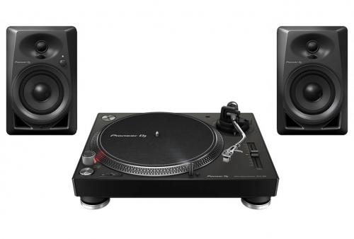 Pioneer PLX-500 Turntable & DM-40 Speaker Bundle (Black)