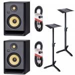 KRK Rokit RP7 G4 Bundle with Monitor Stands & Cables