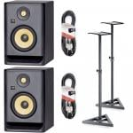 KRK Rokit RP8 G4 Bundle with Monitor Stands & Cables