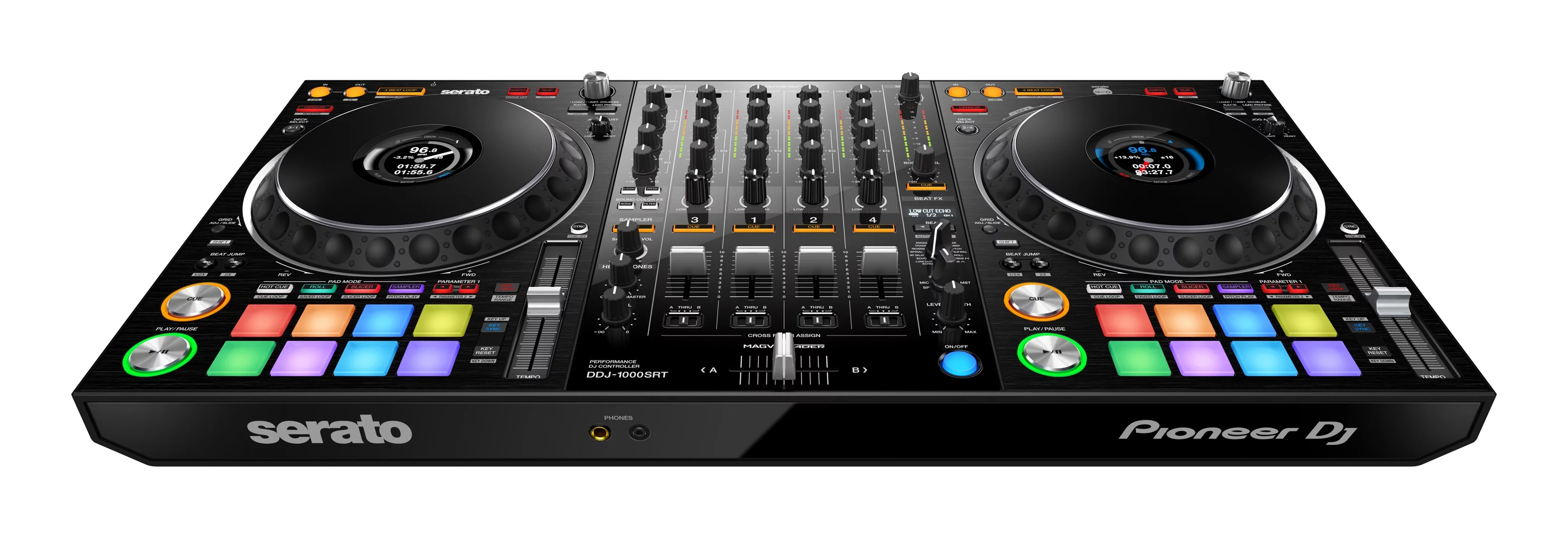What is the difference between the DDJ-1000 Rekordbox and DDJ-1000SRT Serato