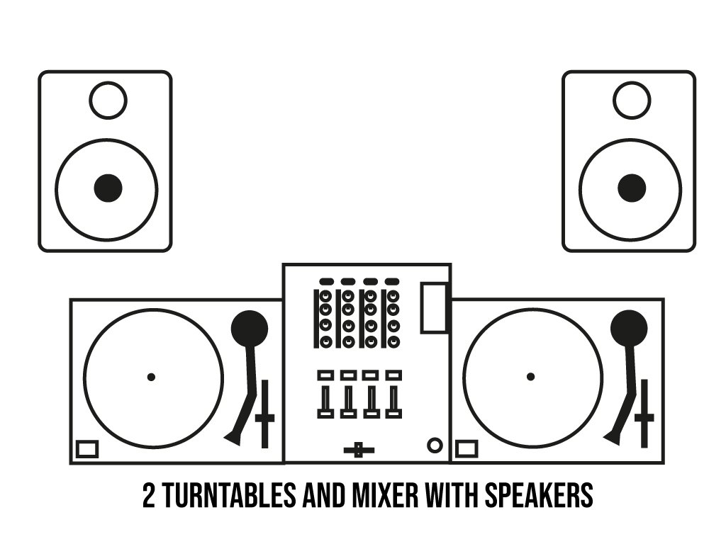 Turntables and Mixer setup